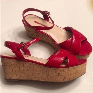 Prada red leather cork sandal wedge size 40